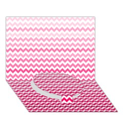 Pink Gradient Chevron Circle Bottom 3D Greeting Card (7x5)