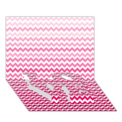 Pink Gradient Chevron Love Bottom 3d Greeting Card (7x5)