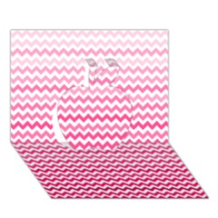 Pink Gradient Chevron Apple 3D Greeting Card (7x5)