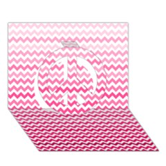 Pink Gradient Chevron Peace Sign 3D Greeting Card (7x5)