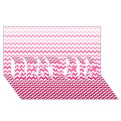 Pink Gradient Chevron Best Sis 3d Greeting Card (8x4)