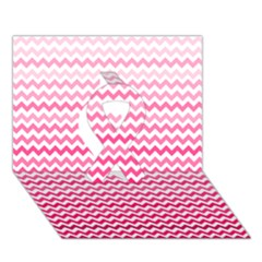 Pink Gradient Chevron Ribbon 3D Greeting Card (7x5)