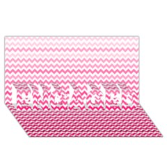Pink Gradient Chevron Engaged 3d Greeting Card (8x4)