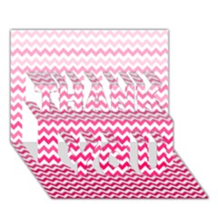 Pink Gradient Chevron THANK YOU 3D Greeting Card (7x5)