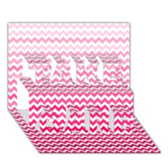 Pink Gradient Chevron Take Care 3d Greeting Card (7x5)
