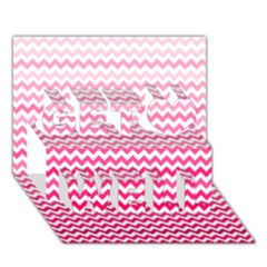 Pink Gradient Chevron Get Well 3D Greeting Card (7x5)