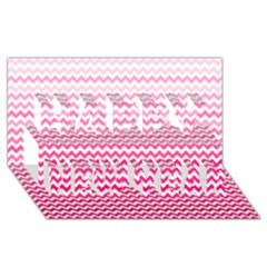 Pink Gradient Chevron Happy New Year 3d Greeting Card (8x4)
