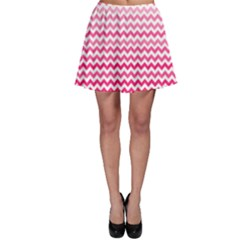 Pink Gradient Chevron Skater Skirts
