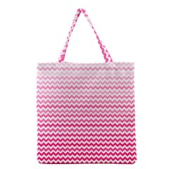 Pink Gradient Chevron Grocery Tote Bags