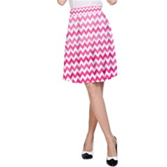 Pink Gradient Chevron A-Line Skirts