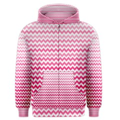 Pink Gradient Chevron Men s Zipper Hoodies