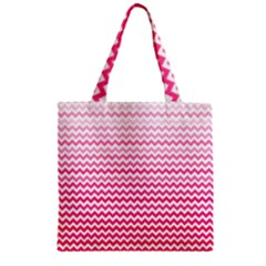 Pink Gradient Chevron Zipper Grocery Tote Bags