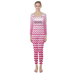 Pink Gradient Chevron Long Sleeve Catsuit