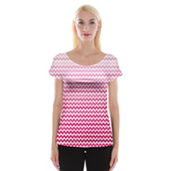 Pink Gradient Chevron Women s Cap Sleeve Top