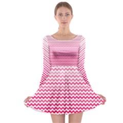 Pink Gradient Chevron Long Sleeve Skater Dress