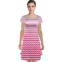 Pink Gradient Chevron Cap Sleeve Nightdresses