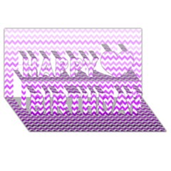 Purple Gradient Chevron Happy Birthday 3d Greeting Card (8x4)