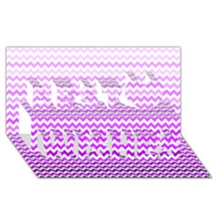Purple Gradient Chevron Best Wish 3D Greeting Card (8x4)