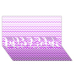Purple Gradient Chevron ENGAGED 3D Greeting Card (8x4)
