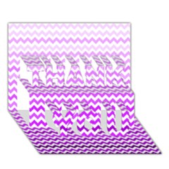 Purple Gradient Chevron THANK YOU 3D Greeting Card (7x5)
