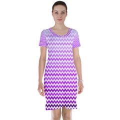 Purple Gradient Chevron Short Sleeve Nightdresses