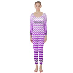 Purple Gradient Chevron Long Sleeve Catsuit