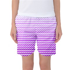 Purple Gradient Chevron Women s Basketball Shorts