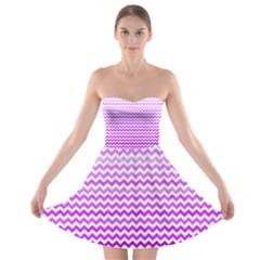 Purple Gradient Chevron Strapless Bra Top Dress