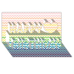Pastel Gradient Rainbow Chevron Happy Birthday 3D Greeting Card (8x4)