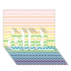 Pastel Gradient Rainbow Chevron Girl 3d Greeting Card (7x5)