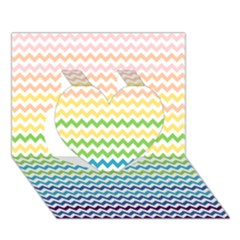 Pastel Gradient Rainbow Chevron Heart 3D Greeting Card (7x5)