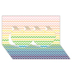 Pastel Gradient Rainbow Chevron Twin Hearts 3D Greeting Card (8x4)