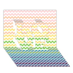 Pastel Gradient Rainbow Chevron Love 3d Greeting Card (7x5)