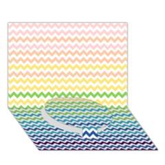 Pastel Gradient Rainbow Chevron Circle Bottom 3D Greeting Card (7x5)