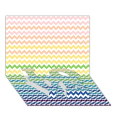 Pastel Gradient Rainbow Chevron LOVE Bottom 3D Greeting Card (7x5)