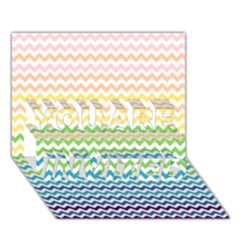Pastel Gradient Rainbow Chevron You Are Invited 3d Greeting Card (7x5)
