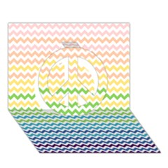 Pastel Gradient Rainbow Chevron Peace Sign 3D Greeting Card (7x5)