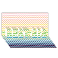 Pastel Gradient Rainbow Chevron BEST SIS 3D Greeting Card (8x4)