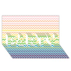 Pastel Gradient Rainbow Chevron PARTY 3D Greeting Card (8x4)