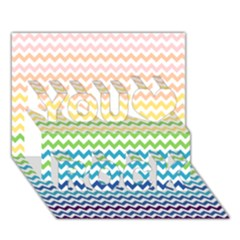 Pastel Gradient Rainbow Chevron You Rock 3d Greeting Card (7x5)