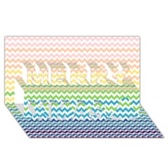 Pastel Gradient Rainbow Chevron Merry Xmas 3d Greeting Card (8x4)