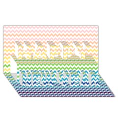Pastel Gradient Rainbow Chevron Happy New Year 3D Greeting Card (8x4)