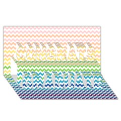 Pastel Gradient Rainbow Chevron Congrats Graduate 3D Greeting Card (8x4)