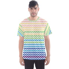 Pastel Gradient Rainbow Chevron Men s Sport Mesh Tees