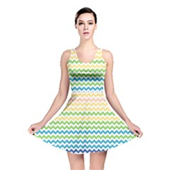 Pastel Gradient Rainbow Chevron Reversible Skater Dresses