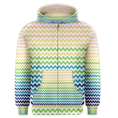 Pastel Gradient Rainbow Chevron Men s Zipper Hoodies