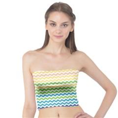 Pastel Gradient Rainbow Chevron Women s Tube Tops