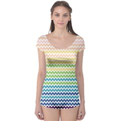 Pastel Gradient Rainbow Chevron Short Sleeve Leotard