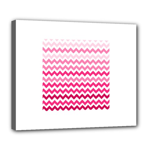 Pink Gradient Chevron Large Deluxe Canvas 24  x 20