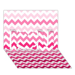 Pink Gradient Chevron Large I Love You 3D Greeting Card (7x5)